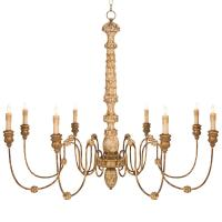 Kylian French Country Hand Carved Rustic Gold 8 Light ...