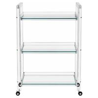 Interlude Ava Modern Acrylic and Glass Serving Bar Cart