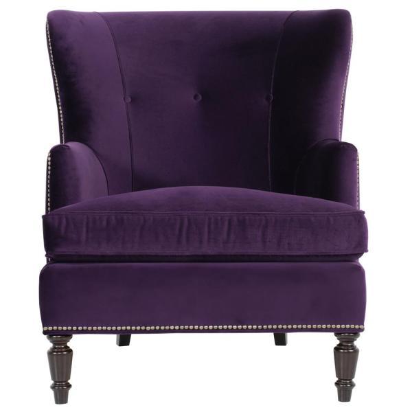 Nia Hollywood Regency Antique Nickel Nailhead Purple Armchair