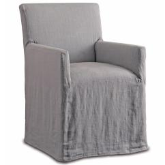 Wood Arm Chair Covers Grey Leather Terry Modern Classic Pewter Linen Slipcover Dining Kathy Kuo Home