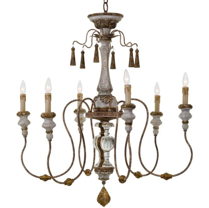 Adelia French Country Distressed Rustic 6 Light Chandelier Kathy Kuo Home