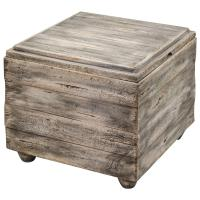 Waco Rustic Lodge Wood Cube End Table | Kathy Kuo Home