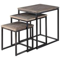 Macon Rustic Industrial Iron Elm Nesting Tables - Set of 3 ...
