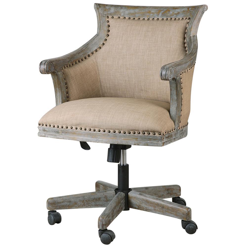 Darius Rustic Lodge Carved Wood Swivel Desk Chair  Kathy