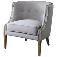 Lyla Modern Classic Soft Grey Hammered Barrel Back Chair ...