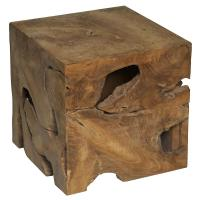 Rolando Rustic Lodge Teak Wood Cube Side Table | Kathy Kuo ...