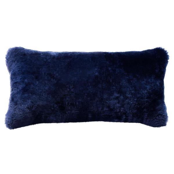 Argali Modern Navy Short Sheepskin Fur Lumbar Pillow - 11x22