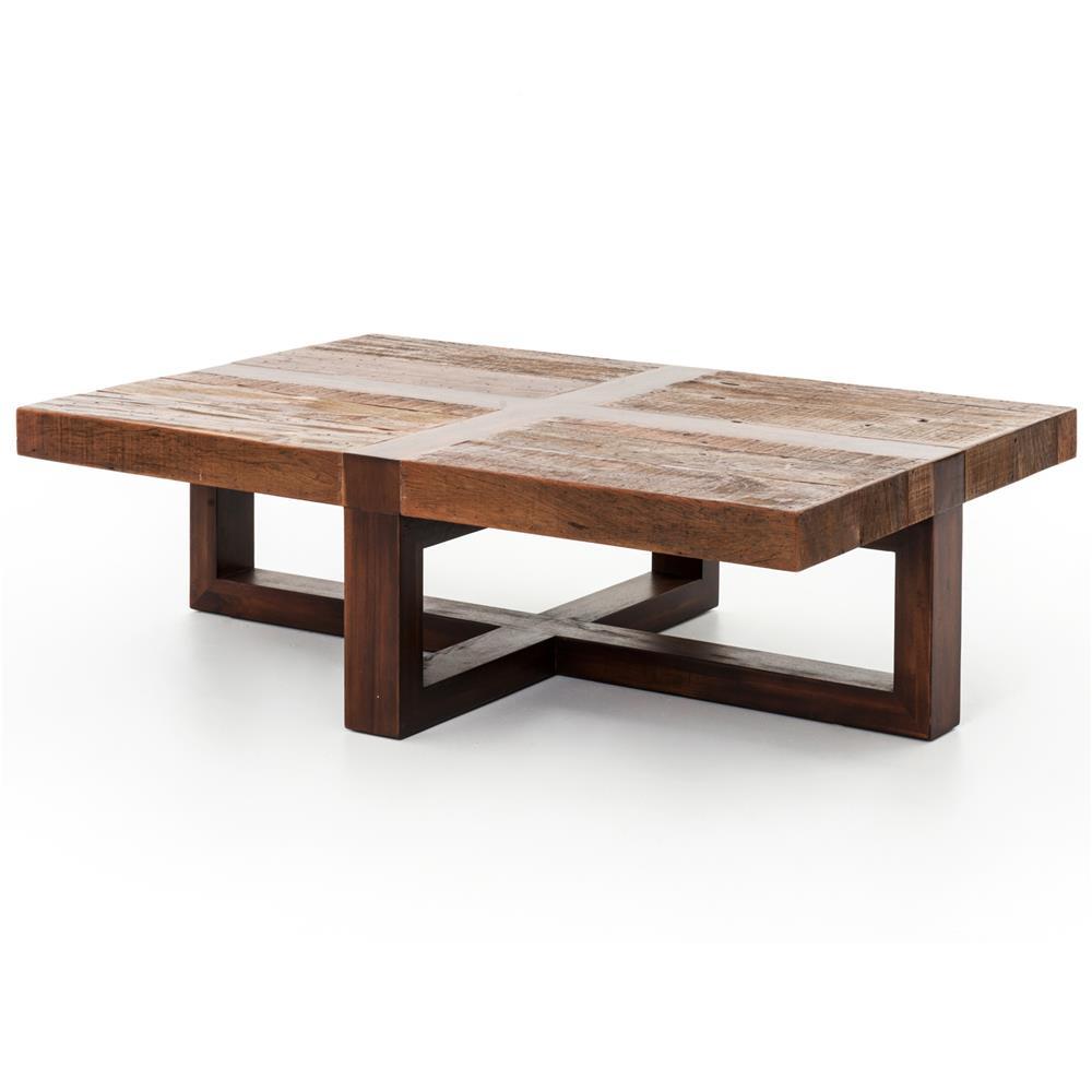 Grange Rustic Lodge Natural Wood Cross Top Coffee Table