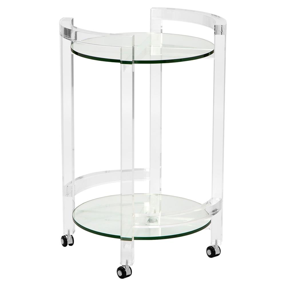 Pennington Modern Clear Round Acrylic Bar Cart