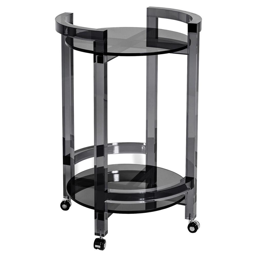 Pennington Modern Smoke Grey Round Acrylic Bar Cart