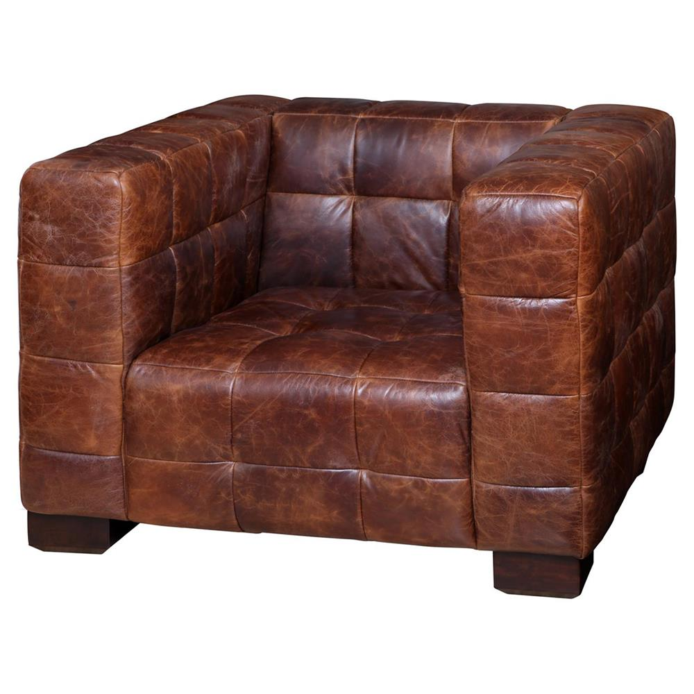 Arthur Rustic Lodge Tufted Leather Cube Club Chair  Kathy