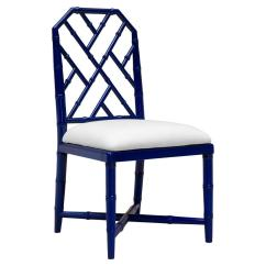 Bamboo Dining Chair Room Chairs Modern Fontaine Hollywood Regency Blue Kathy Kuo Home