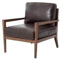 Kyrie Mid Century Brown Leather Angular Armchair | Kathy ...