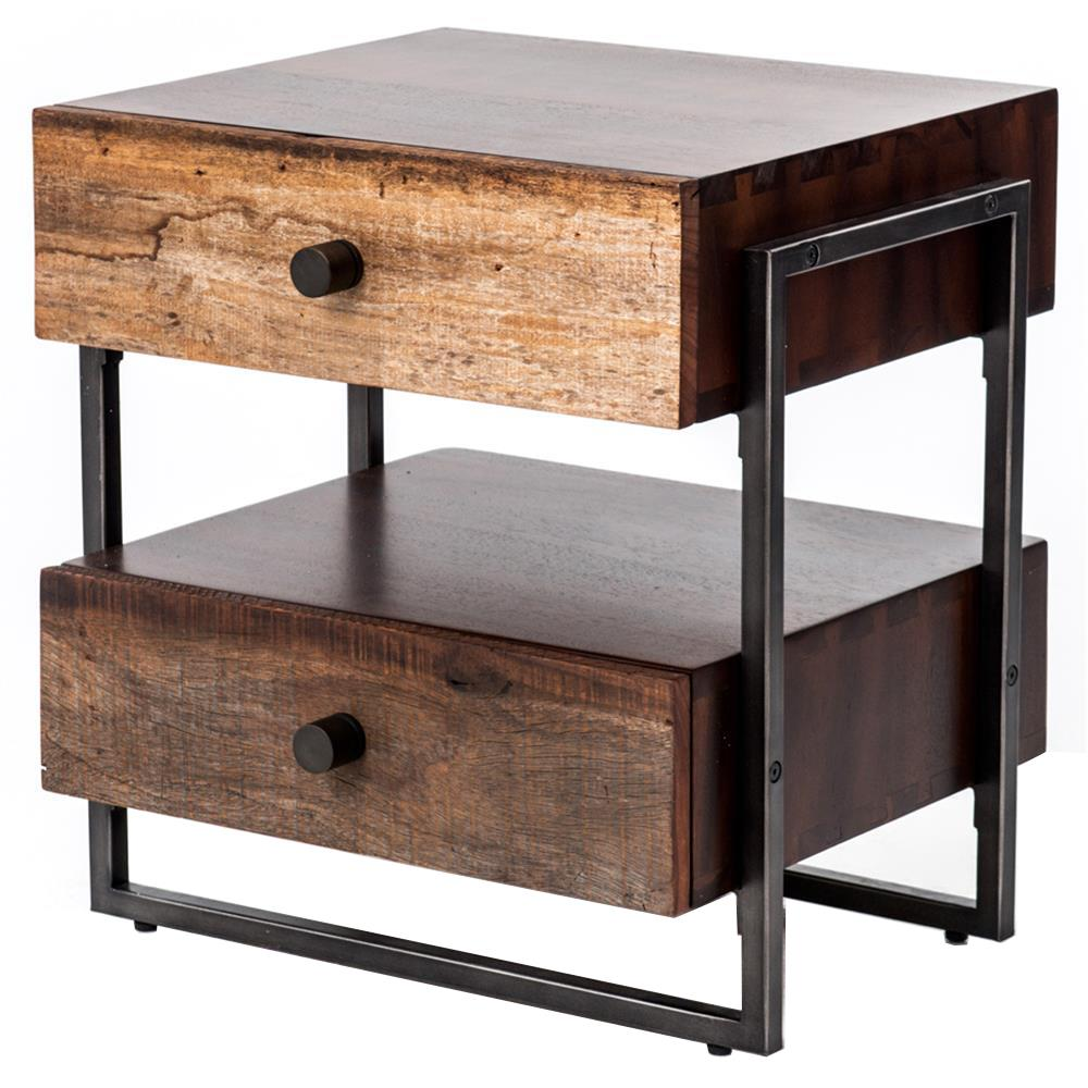 Alena Industrial Rustic Wood Steel Side Table  Kathy Kuo Home
