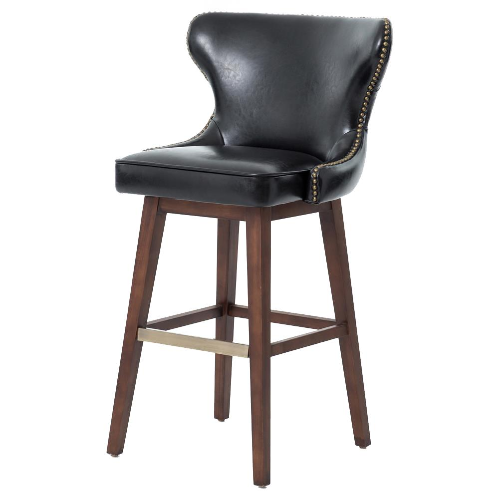 Imani Modern Classic Black Leather Swivel Bar Stool