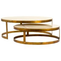Portia Global Ivory Stone Gold Nest Round Coffee Tables ...