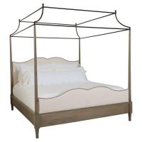 Marietta French Country Linen Oak Post Queen Bed - Canopy ...