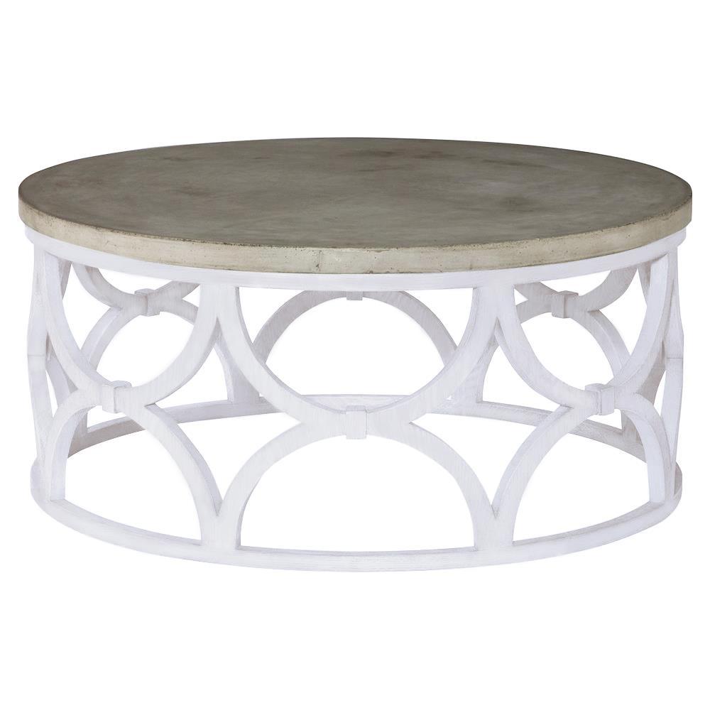 Mr Brown Wolfgang Modern Slate Oak Round Outdoor Coffee Table