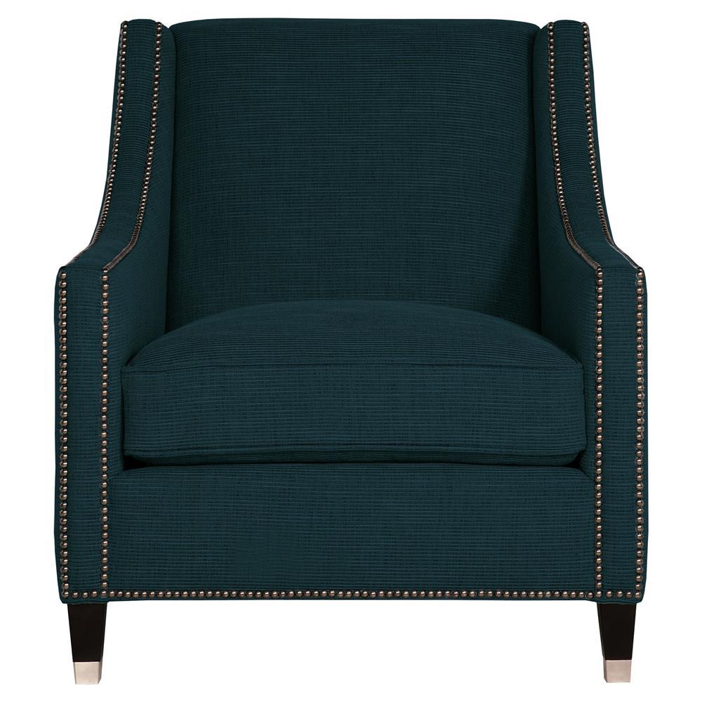 Emmeline Hollywood Regency Nickel Navy Blue Arm Chair