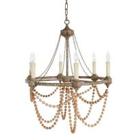 Auvergne French Country Rustic Iron White Bead Chandelier ...