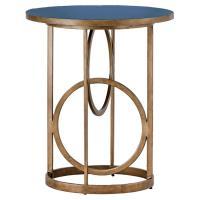 Cason Hollywood Gold Interlock Blue Seagrass End Table ...