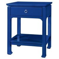 Bruna Top Drawer Regency Blue Lacquer Nightstand   Kathy ...