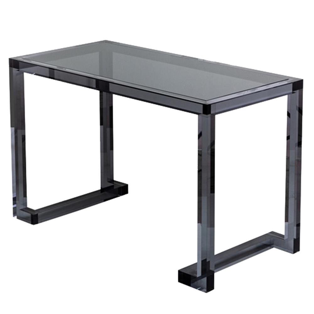 Ava Modern Classic Black Smoke Acrylic Desk  Kathy Kuo Home