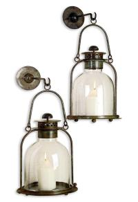 Alta Vista Pair Lime Wash Candle Sconce Lantern
