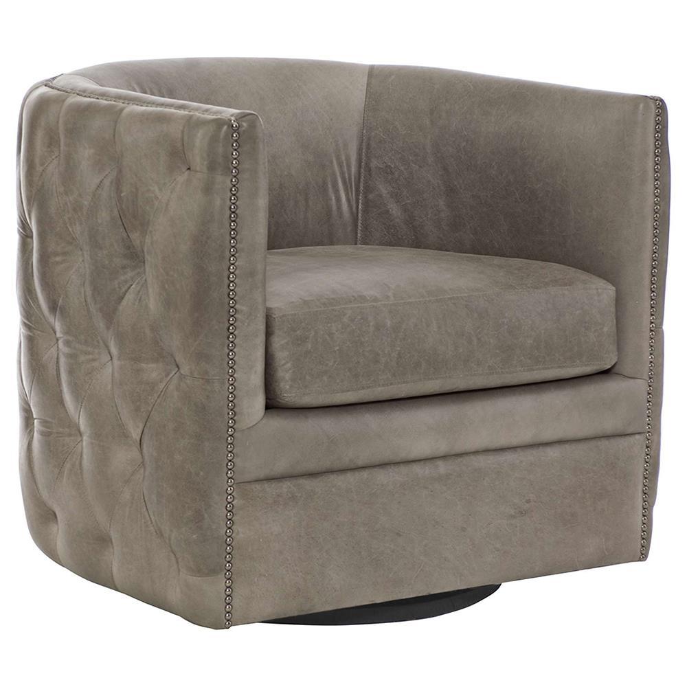 Sawyer Modern Classic Grey Leather Round Swivel Chair