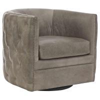 Sawyer Modern Classic Grey Leather Round Swivel Chair ...
