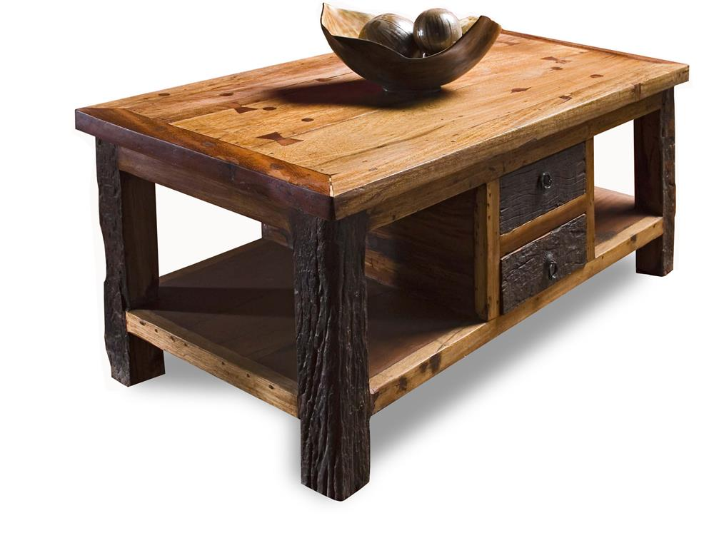 Reclaimed Wood Lodge Cabin Rustic Coffee Table