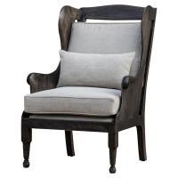Turner Rustic Lodge Dark Wood High Back Chair | Kathy Kuo Home
