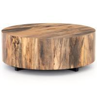 Barthes Rustic Lodge Round Natural Wood Block Coffee Table ...