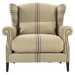 Accent Wingback Chairs Unfinished Wood Kitchen Napoleon French Fog Linen Blue Stripe Armchair Kathy Kuo Home