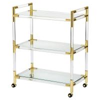 Joray Modern Classic Acrylic Brass Tip Bar Cart