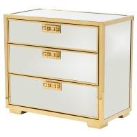 Mercer Mirrored Polished Gold Greek Key Nightstand | Kathy ...