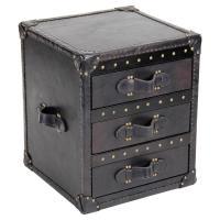 Blaise Rustic Brown Stud Leather Trunk Toile de Jouy ...