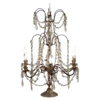 French Country Antique Bronze Crystal Chandelier Table Lamp