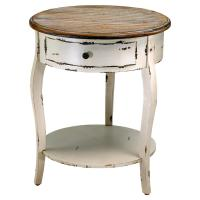 Olevi French Rustic Ivory Round Wood End Table | Kathy Kuo ...