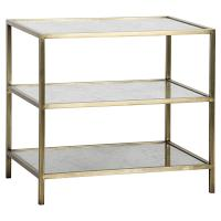 Mackinley Modern 3-Tier Antique Glass Brass Metal Side Table