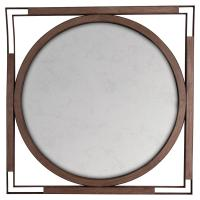 Harwich Rustic Brown Wood Black Round Square Wall Mirror ...