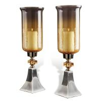 Pair Andreas Silver Amber Luster Tall Hurricane Candle Holders