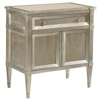Mary Regency Silver Leaf Grey Wood Nightstand | Kathy Kuo Home