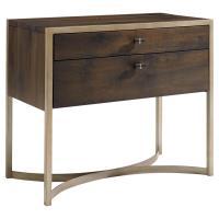 Patrick Rustic Antique Brass Oak Wood Nightstand | Kathy ...