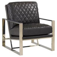 Ignatius Mid Century Grey Quilted Leather Metal Chair