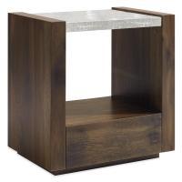 Beacon Modern Bubbled Glass Oak Nightstand | Kathy Kuo Home