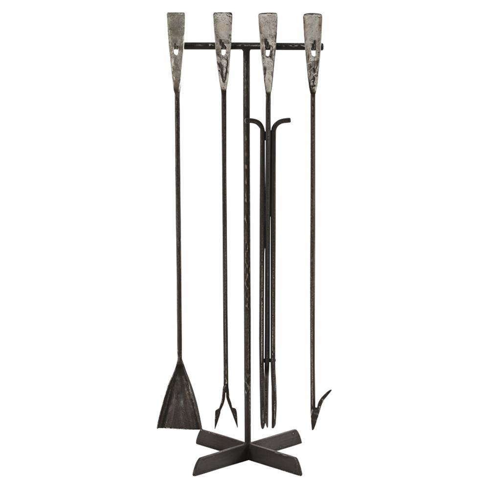Arteriors Henry Industrial Hand Forged Iron Fireplace Tool Set