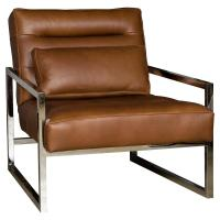 Cadena Loft Masculine Brown Leather Steel Armchair | Kathy ...