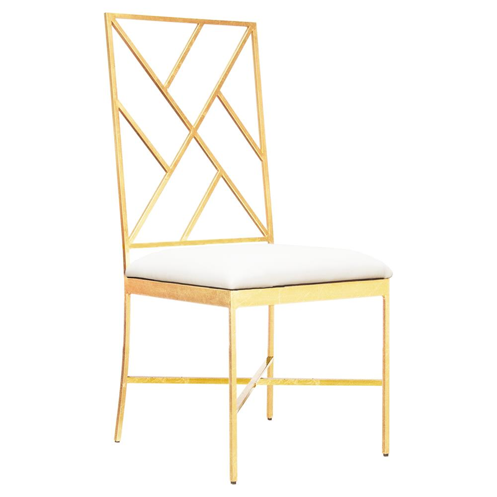 Adrion Gold Leaf Fretwork White Side Chair  Kathy Kuo Home
