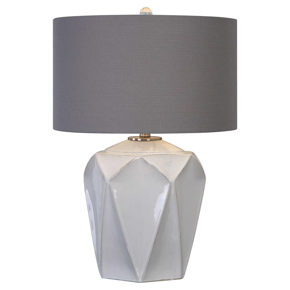 Spruce Modern Geometric White Ceramic Table Lamp